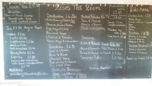 Roses Tea room menu