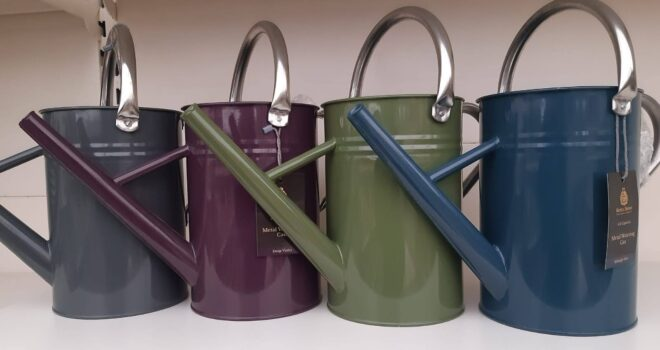watering cans of different colours
